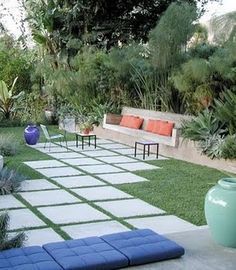 Patio with Grass Between Stones | mason jar champagne: need your help with landscape design!