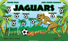 Jaguars B55086  digitally printed vinyl soccer sports team banner. Made in the USA and shipped fast by BannersUSA.  You can easily create a similar banner using our Live Designer where you can manipulate ALL of the elements of ANY template.  You can change colors, add/change/remove text and graphics and resize the elements of your design, making it completely your own creation.
