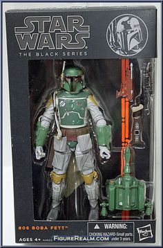 """Boba Fett from Star Wars - Black Series - 6"""" Scale - Orange Stripe Package manufactured by Hasbro [Front]"""