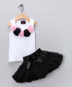 Take a look at this White Rosette Tank & Black Pettiskirt - Toddler & Girls on zulily today!