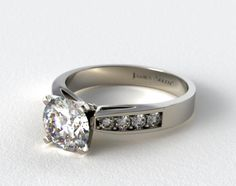 14k White Gold 0.16ct Channel Set Round Shaped Diamond Engagement Ring #channel #engagement #ring