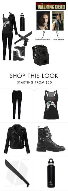 """""""Me in The Walking Dead"""" by the-freak-of-nature ❤ liked on Polyvore featuring Boohoo, Miss Selfridge, Giuseppe Zanotti and Beretta"""