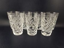 Set of 7 WATERFORD CRYSTAL TYRONE ADARE Pattern Small Flat Juice Tumblers