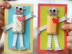 Robot Valentines for Kids. #diy #crafts http://www.ivillage.com/our-favorite-kid-made-valentines/6-b-423316#423329