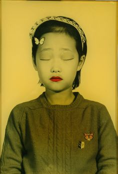 """Forty Nine People's Meditation"" by Korean artist Ahn, Chang Hong. 2004. Mixed media painting on photograph"
