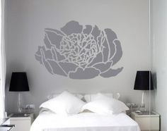 Large OPENING PEONY Flower Wall STENCIL, Reusable EASY DIY Home Decor