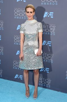 Pin for Later: Shop the Best and Brightest Looks From the Critics' Choice Awards Sarah Paulson shines in a Naeem Khan silver-sequined dress
