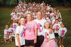 """Shannon Baldwin is receiving treatment for HER2+ breast cancer. Her friends and family, including husband Jeff and daughters Riley and Gentry, are members of """"Team Baldwin.""""  The enormous team will participate in the Making Strides Against Breast Cancer walk Oct. 24."""