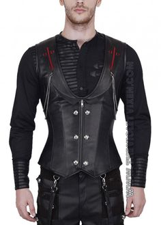 The Violet Vixen - Blood Crossed Hunter Corset, $158.00 (http://thevioletvixen.com/clothing/mens/mens-corsets/blood-crossed-hunter-corset/) mens corset steel boned goth black leather red detail chains
