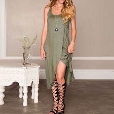 Women New Sexy Split Wrap Asymmetric Hem Party Evening Casual Long Summer Dress