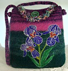 Felted Purse Felted Handbag Iris Art Iris Flowers Flower Art -- Check out this great article. #Handmadehandbags