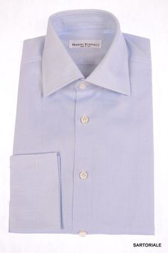 RUBINACCI Napoli Hand Made Blue Cotton F Cuff Dress Shirt US 15.5 NEW EU 39