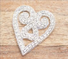 Sweet silver beaded heart applique - DIY projects, bridal/wedding accessories, garters...