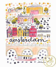 Amsterdam Art Print Teaching Kids Rifle Paper And Printing - Amsterdam country map