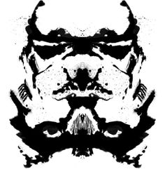 The Rorschach test is a classic example of projection. While it's styled to be like this, I still automatically see a Storm Trooper from Star Wars. http://youtu.be/GLh7ki27HNU
