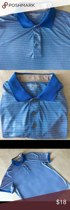 Croft & Barrow Performance Polo Blue Striped Shirt Men's size L performance polo shirt by Croft & Barrow.  - Color: Blue Gray with Blue collar & stripes - Fabric: moisture-wicking 100% polyester - Polo style dry fit active short sleeve shirt  Pre owned, looks like new! croft & barrow Shirts Polos