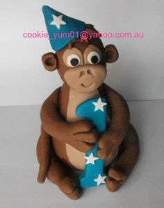 1 edible 3d CUTE CHEEKY MONKEY holding number or letter cake decoration topper jungle animal gumpaste sugarcraft baby shower birthday by cookiecookieyumyum on Etsy