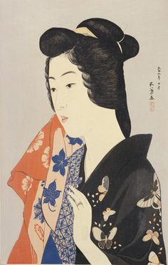 Woman Holding a Towel  October 1920    Hashiguchi Goyo , (Japanese, 1880-1921)   Taisho era     Woodblock print; ink, color and silver mica on paper  H: 45.8 W: 30.1 cm   Japan