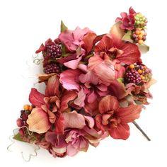 髪飾り・ヘッドドレス/アンティークデルフィニウムのヘアピックセット(赤) - ウェディングヘッドドレス&花髪飾りairaka