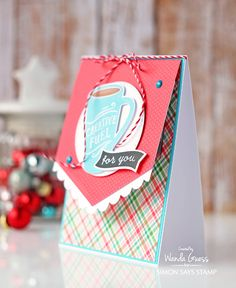 Gift Card holder idea. Reverse Confetti stamps. Lawn Fawn and Doodlebug paper. Card by Wanda Guess
