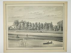1876 Antique Print Lithograph of H. Holcomb, East Bloomfield, NY Ontario County New York Upstate Finger Lakes Farm House. $28.00 USD, via Etsy.