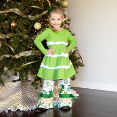 ruffle lime and white dress   from Lolly Wolly Doodle