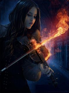 Lady With Fire Violin