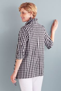 Handkerchief Gingham Shirt by Comfy USA (Woven Shirt) | Artful Home