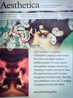 Christopher Langley was featured in Aesthetica Magazine in their print and in-line artists directory during March 2015.