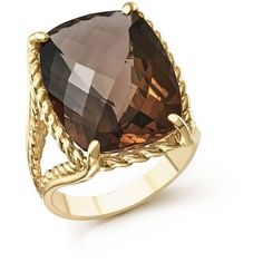 Smoky Quartz Rectangular Statement Ring in 14K Yellow Gold ($1,485) ❤ liked on Polyvore featuring jewelry, rings, rectangle rings, statement rings, gold jewellery, cocktail rings and gold statement ring