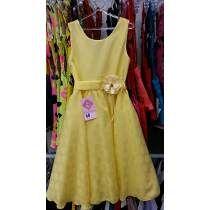 Vestido Festa Rodado Infantil Menina Amarelo Tamanho 14