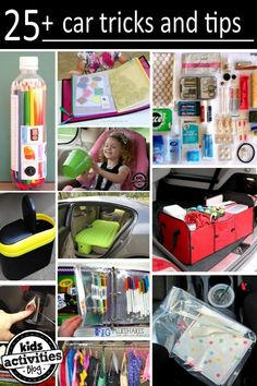 25 Car hacks for trips in the car with kids. car tricks, tips car families, car hacks tricks, car trip organization, organizing kids stuff, organization tricks, 25 car hacks for families, kids organizer, car activities