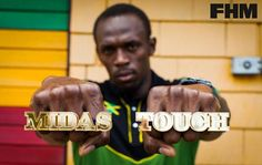 'Midas Touch' for the fastest man in the world Usain Bolt. Custom made for FHM magazine by Bonnie Bling for Obscure Couture Usain Bolt, Fastest Man, Celebrity Pictures, Bling, Magazine, Touch, Couture, Celebrities, Wall