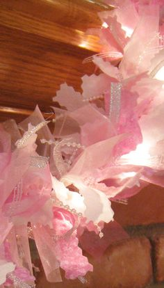 Pink Christmas Garland - Christmas Garland - Rag Garland Could make this! All Things Christmas, White Christmas, Christmas Holidays, Christmas Ornaments, Christmas Tabletop, Christmas Trees, Pink Christmas Decorations, Valentine Decorations, Baby Shower Princess