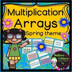 Multiplication Array Task Cards- Spring Theme (24 task cards)This is a colorful set of 24 task cards to practice writing equations to go with multiplication arrays with a spring theme! This set is a wonderful addition to your lessons!