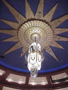 Art Deco Starburst Ceiling element with 14' chandelier Cinemark Theater Orlando, Florida.