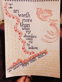 I am worth more than what my disorders want me to believe.I deserve more than this. Bulimia Recovery, Eating Disorder Recovery, Counseling Quotes, Quotes That Describe Me, Obsessive Compulsive Disorder, Recovery Quotes, Addiction Recovery, Addiction Help