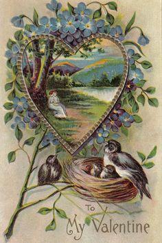 Forget Me Not Heart Vintage Flower Valentine