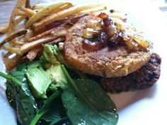 """""""Up south meets down south"""" fresh cut french fries, avocado and spinach salad with honey lime vinaigrette; open face quinoa and black bean burger with oven fried green tomatoes topped with caramelized onions. From Chef Sia Photo by Imani Honey Lime Vinaigrette, Fried Green Tomatoes, Black Bean Burgers, Open Face, Fries In The Oven, Down South, Spinach Salad, Caramelized Onions, French Fries"""
