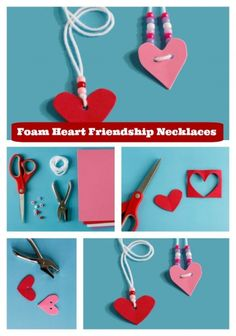 Looking for a great Valentine's Day Craft Idea? Try these cute Foam Heart Friendship Necklaces!