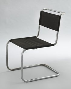 """Chair (B33) Marcel Breuer (American, born Hungary. 1902–1981) 1927-28. Chrome-plated tubular steel with steel-thread seat and back, 32 15/16 x 19 5/16 x 25 3/8"""" (83.7 x 49 x 64.5 cm). Manufactured by Gebrüder Thonet A.G., Germany."""