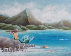 Original mermaid painting on canvas Hawaii by NancysFineArt