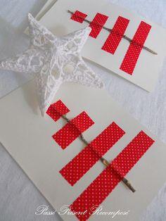 Cute handmade Christmas cards, so effective Noel Christmas, Winter Christmas, All Things Christmas, Handmade Christmas, Christmas Ornaments, Holiday Crafts, Holiday Fun, Tarjetas Diy, Washi Tape Diy