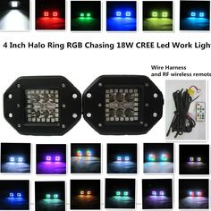 18W CREE Led Work Light with RGB Halo Ring Chasing Spot Flush Mount Led Lights Many Different Flashing Modes and Tons of Color Changing Led Warning Light Free RF Remote Controller and Wire Harness 1800LM LED Driving Fog Light LED Work Light for SUV Boat 4x4 Jeep Lamp dually 18w Cube(Pack of 2)