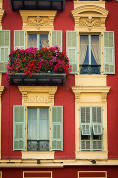 French windows on residential building near the port in Nice, France