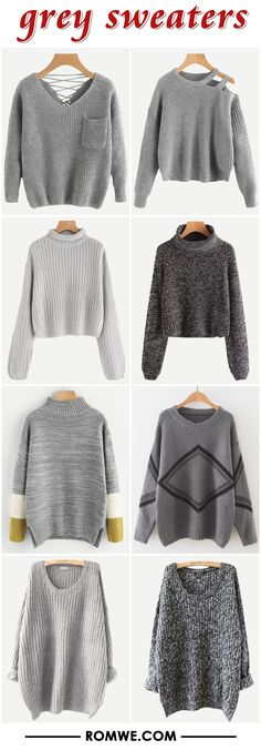 grey sweaters from romwe.com