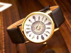 Armbanduhren - TRAUMFÄNGER  Armbanduhr Feder Uhr Ethno Boho  gold - ein Designerstück von Schloss-Klunkerstein bei DaWanda