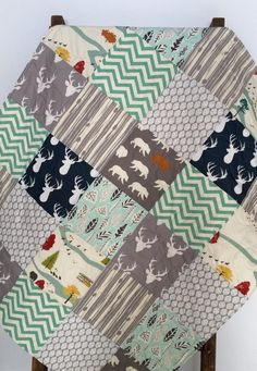 Baby Boy Quilt, Woodland, Rustic, Bear Hike, Stag, Deer, Feather River, Navy, Gray, Mint, Baby Bedding, Crib Bedding, Baby Bedding, Nursery