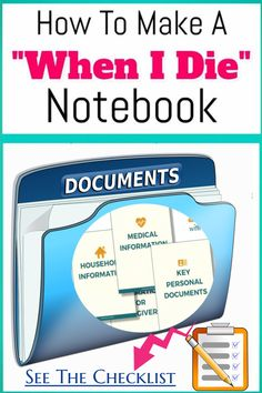How To Organize Important Documents in an Emergency Binder or Household Notebook - Decluttering Your Life Family Emergency Binder, In Case Of Emergency, Emergency Preparedness Kit, Emergency Preparation, Funeral Planning Checklist, When Someone Dies, Life Binder, When I Die, After Life