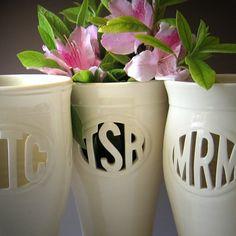 Tall 3-letter Ceramic Monogram Vase